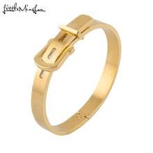 Роскошные брендовые золотые мужские титановые браслеты с пряжкой