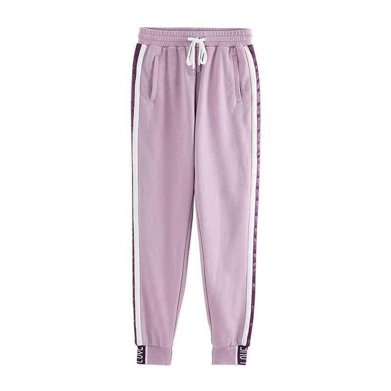 Toyouth длинные спортивные штаны для отдыха новое поступление 2019 женские штаны двойной полосатый Jogger дамские шаровары тренировочные брюки спортивные брюки