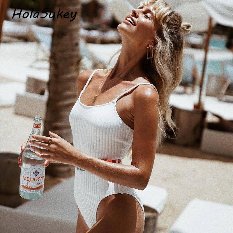 HolaSukey Un Morceaux Maillot de Bain Sexy Femelle Bandeau Beachwear Solide Rayé Monokini 2018 Nouvelles Femmes Maillots De Bain Rétro Body
