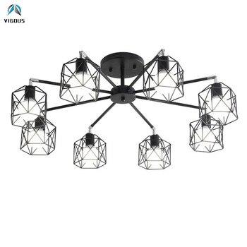 Nordic Minimalism Metal Cage E27 Luminaria Chandelier Black Ceiling Chandelier for Bedroom Indoor Lighting Fixtures Lamparas