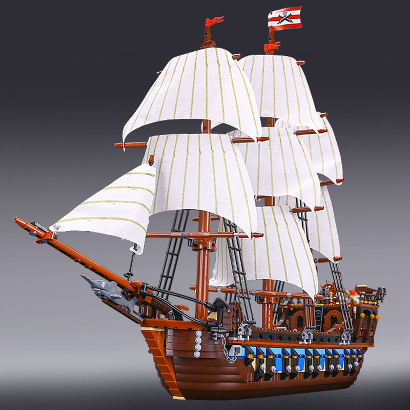 1717pcs Diy Pirate Ship warships Model Building Block Educational Model Compatible With legoingly Bricks Toys For Children in stock new lepin 22001 pirate ship imperial warships model building kits block briks toys gift 1717pcs compatible10210