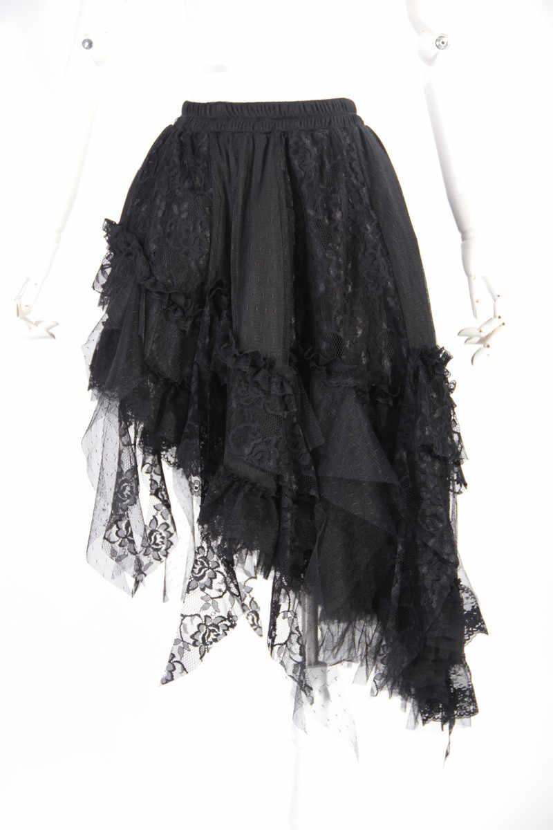 Женская ассиметричная юбка с кружевом в стиле панк черная красная весенне