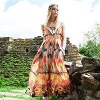 Sommer Frauen Retro Gypsy Böhmen V-ausschnitt Exotische Druck Quaste Nationalen Trend Expansionsunter Lange Chiffon Weste Kleid