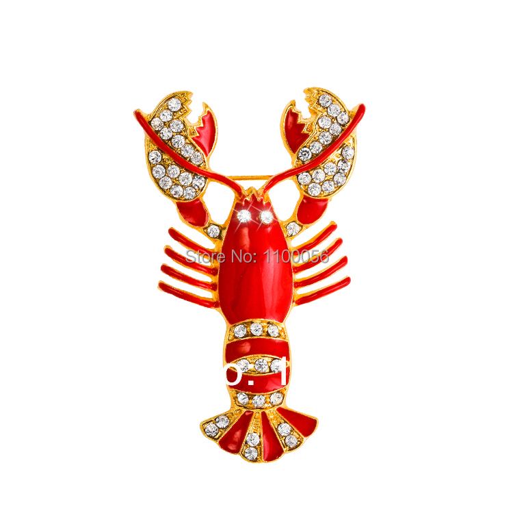 Free Shipping 2019 Cute Red Crystal Women Brouches Rhinestone Lobster - Fashion Jewelry - Photo 1