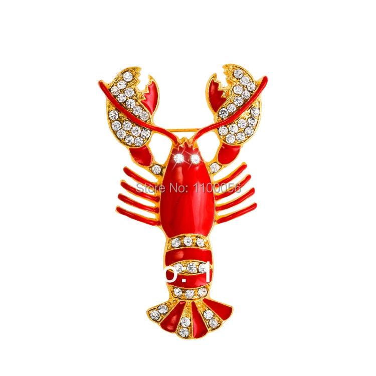 Besplatna dostava 2019 Slatke ženske crvene kristalne broševe brod - Modni nakit