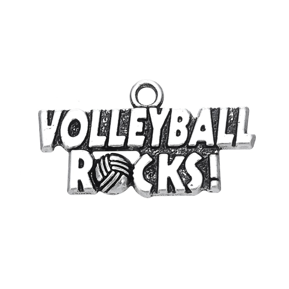 my shape 30pcs volleyball rocks sporty word charm-in