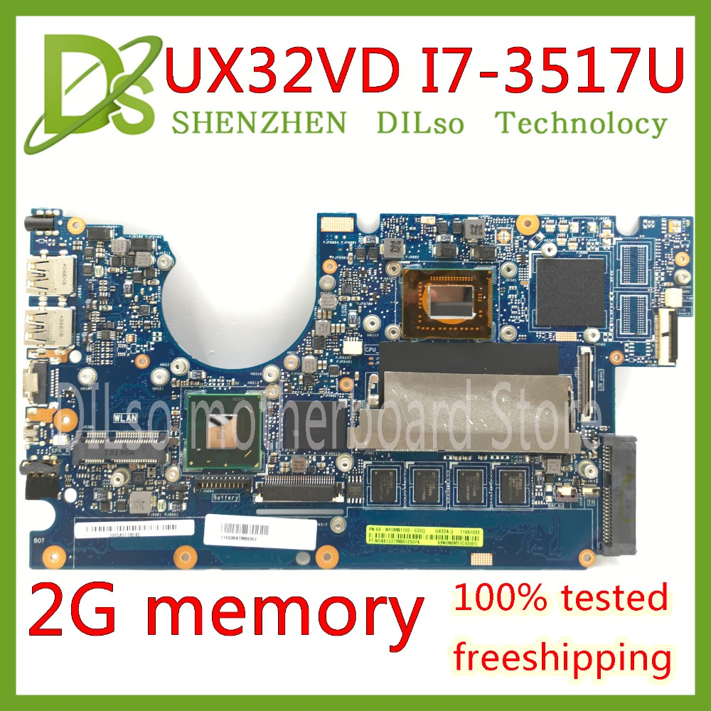 KEFU UX32VD Motherboard For ASUS UX32V UX32VD UX32A Laptop Motherboard I7-3517U CPU GM 2GB RAM Original Test  Mainboard