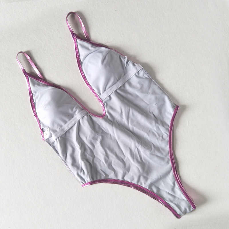 67afa67b93cda ... Sexy V Neck Shiny Gold/Pink Metallic Leather Bathing Suit Backless High  Cut Monokini Thong ...