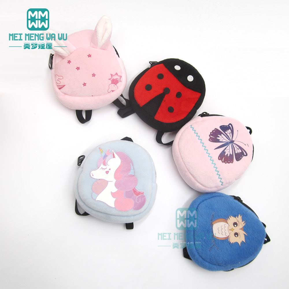 Clothes For Doll Fit 43cm Baby New Born Doll Cartoon Plush Backpack