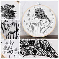 Simple Design 3D DIY Flower Sketch Embroidery Kit Handmade Needlework for Beginner Cross Stitch Set with Embroidery Hoop Gift