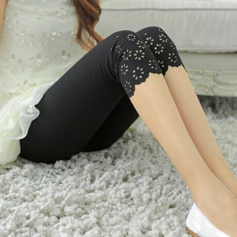 Summer Women Elastic Short   Leggings   Knitted Hollow Out Flower Pants Female Cute Short   Leggings   candy Pants Safty Mid-calfStretch