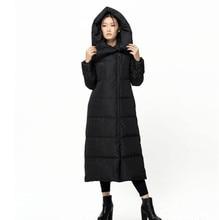 BACHN Winter Warm Original Design Women Plus Size Slim 90 White Down Brief Hooded Thick X-long Down Jacket Coat Sz S M L Black
