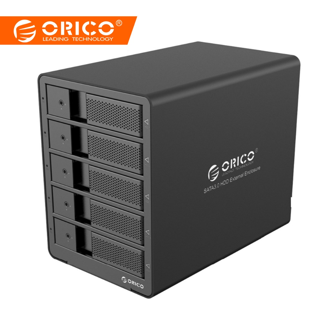 ORICO 9558RU3 5bay 3.5 USB3.0 SATA Med RAID-funktion HDD Aluminium 5bay Kabinet HDD Docking Station 5 Bay HDD Taske - Sort
