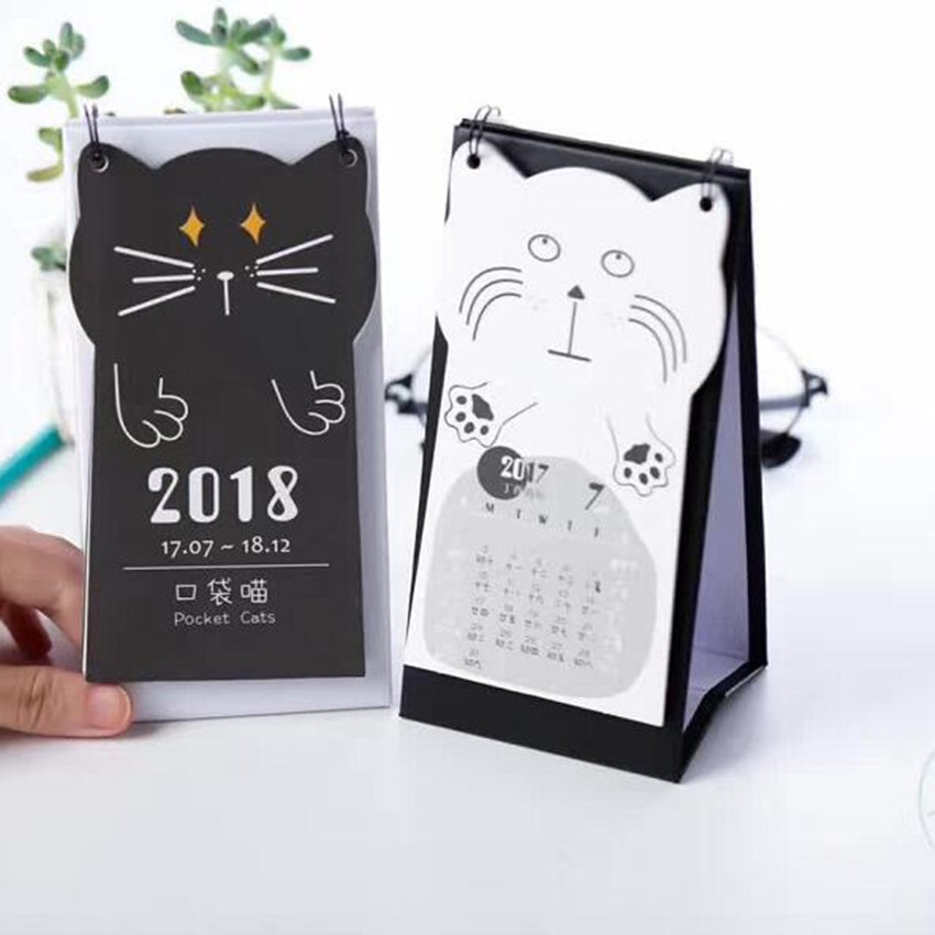 Calendar Calendars, Planners & Cards Humor 1pcs Cute Cat Claws Mini Table Calendars Desk Planner Agenda Calendar Paper Stationery Office School Supplies 2017.7~2018.12 Reasonable Price