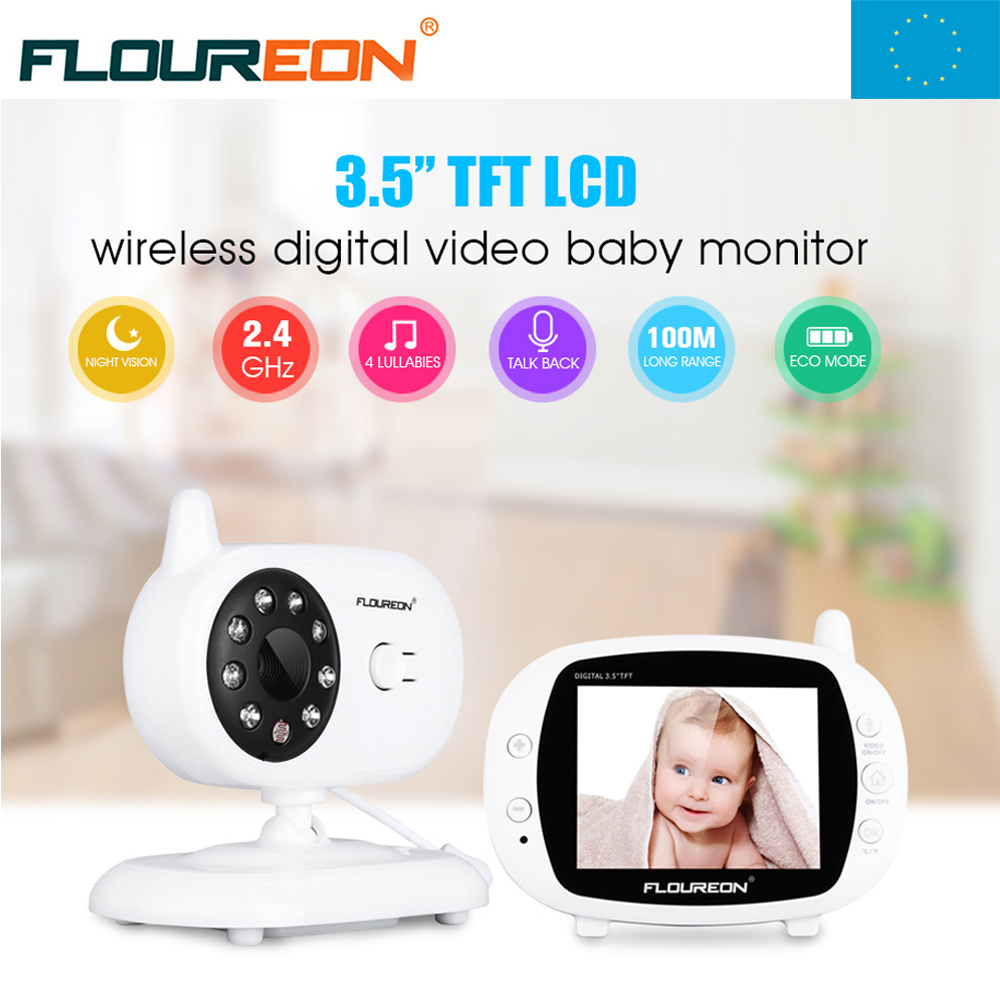 Local Shipping ! 3.5'' Digital Wireless Baby Monitor LCD Video Temperature Display 2 Way Talk Night Vision Nanny Security Camera new 2 4g wireless digital 2 0 lcd baby monitor camera audio talk video night vision baby nanny security camera