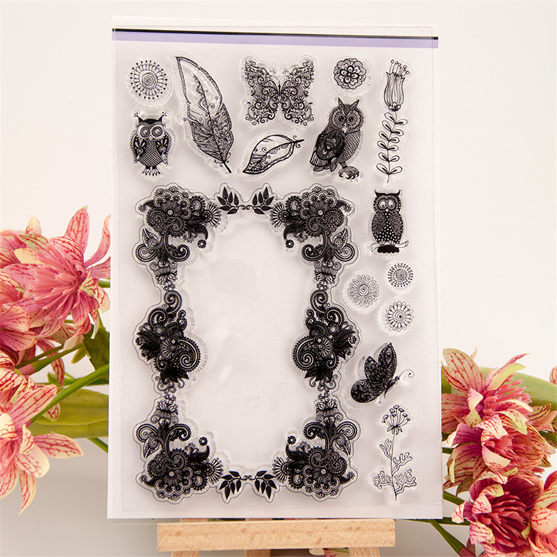 New arrival stencil diy scrapbooking clear stampowl and trees leaves  for wedding paper card christmas gift CC-190 nuckily r007 road bike bicycle pu handlebar tape belt wrap black