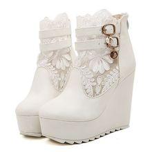 ขนาด4 ~ 8 W Edgesรองเท้าส้นสูงผู้หญิงปั๊มลูกไม้แต่งงานผู้หญิงรองเท้าs zapatos mujer