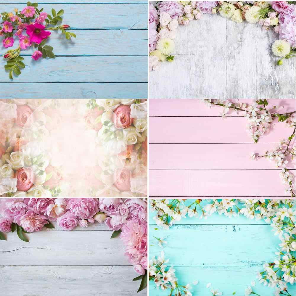 HUAYI Wood board Backdrop photocall photophone blossom flowers on vintage wood plank photo Background photo booth Studio props