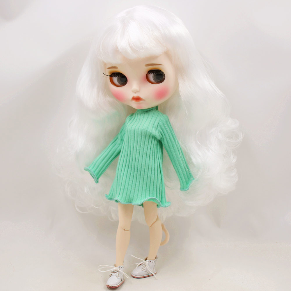 ICY Nude Blyth Doll No BL136 White hair Carved lips Matte customized face with eyebrow Joint
