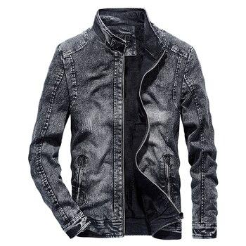 Chaquetas de mezclilla Vintage para hombre Slim Fit Casual Jeans abrigo chaqueta 2019 primavera otoño moda Vintage ropa para hombres Negro Azul WN39