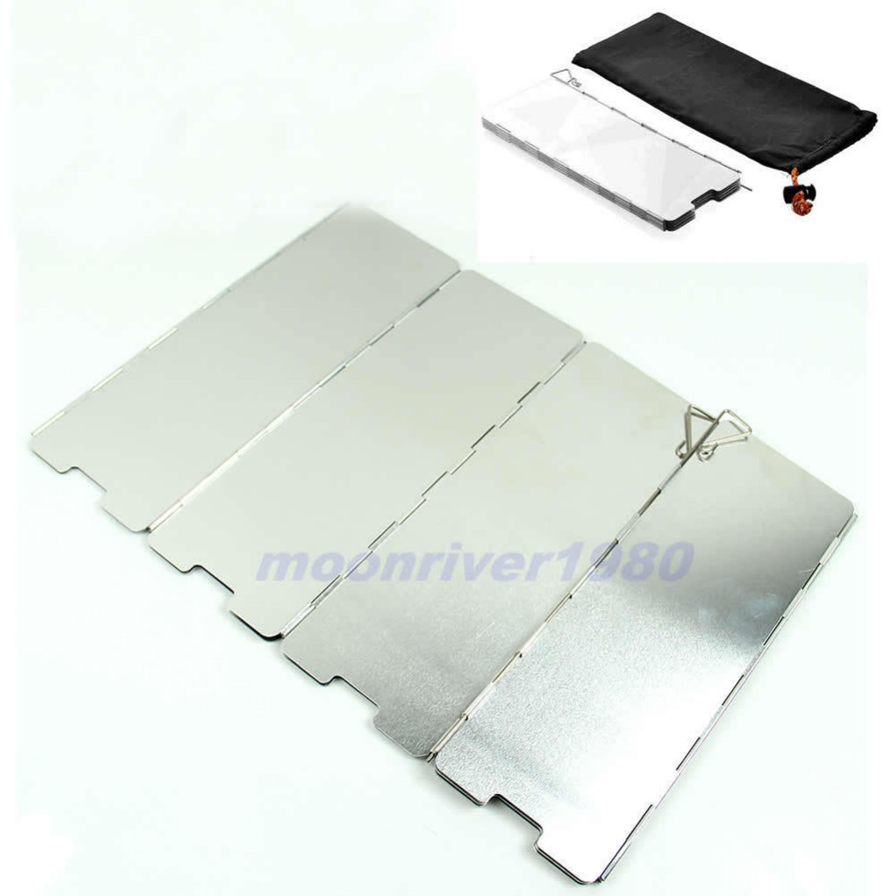10 Plates Fold Outdoor BBQ Cookout Camping Windbreak Stove Wind Shield Screen