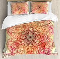 Red Mandala Duvet Cover Set Queen Size Magical Spiritual Hand Drawn Bloom with Swirled Petals Oriental Retro Decorative 4 Piece