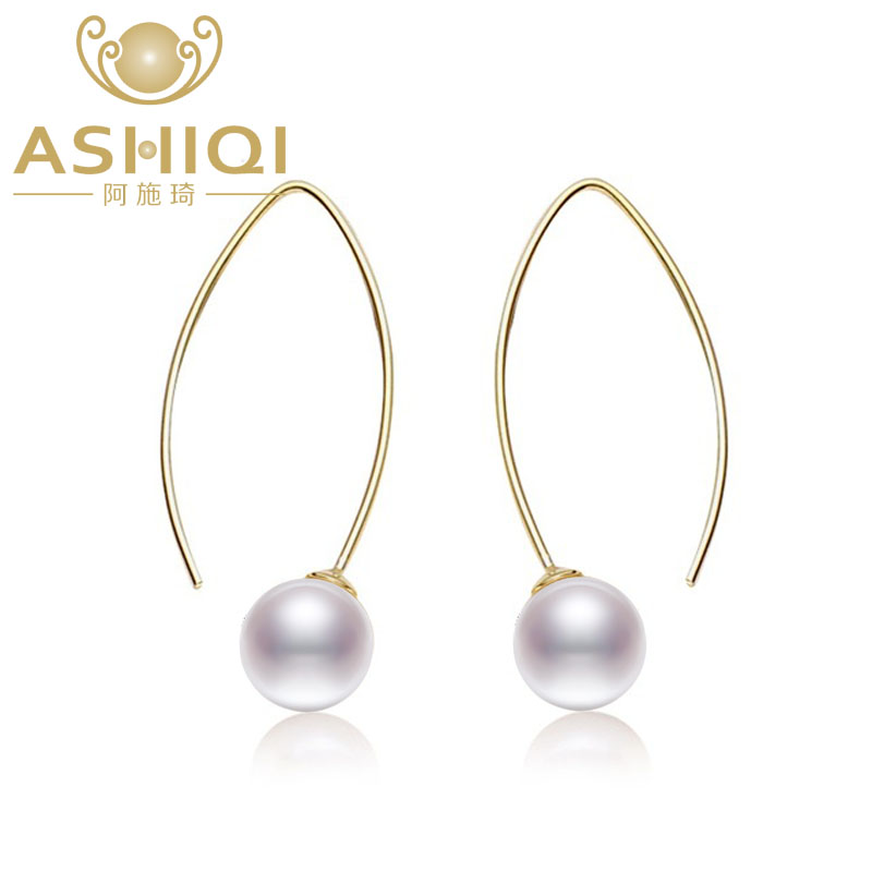 ASHIQI 8-9mm Perfectly round Natural Freshwater Pearl Earrings 925 sterling silver Earrings Fine jewelry for Women gift daimi cultured freshwater pearl earrings 925 silver 8 9mm perfect round pearl earrings elegant fine earrings