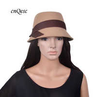 New design Camel/brown real Wool hat warm felt winter hat wedding church trilby with gross grain ribbon crown band