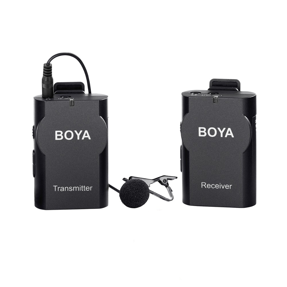 BOYA BY-WM4 Wireless  Lavalier Microphone System Lapel for Smartphone,Canon Sony Camera Tablet Camcorder Video boya by wm5 lavalier clip on mic audio studio recorder wireless microphone microfone for canon sony gopro dslr camera camcorder