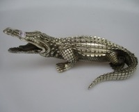 Free shipping antique sculpture collection,Tibet silver statue,white copper crocodile sculpture multi style lion tortoise