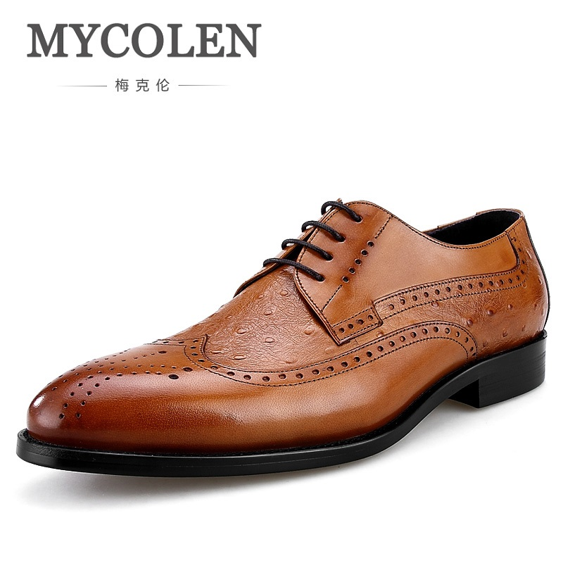 MYCOLEN 2018 New Man Brogue Shoes Casual Carved Business Derby Shoes Lace Up Man Footwear Fashion Man Shoes HerenschoenenMYCOLEN 2018 New Man Brogue Shoes Casual Carved Business Derby Shoes Lace Up Man Footwear Fashion Man Shoes Herenschoenen