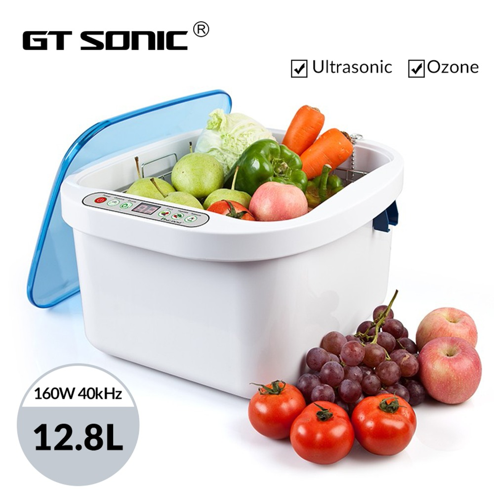 GTSONIC Ozone Ultrasonic Cleaner Bath 12 8L 160W 40kHz for Fruit Seafood Vegetable Meat Fish Dinner