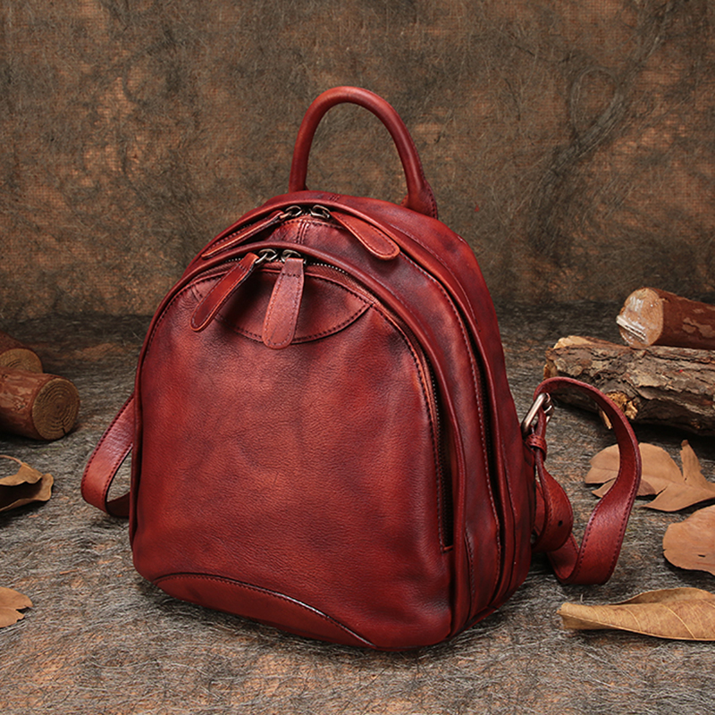 Travel Outdoor Backpack Natural Leather Women s Backpack Shoulder Bags Handmade Leather Knapsack Female Double Zipper
