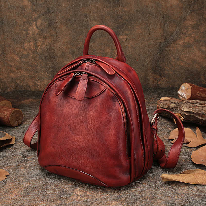 37bfcc6cc6af Путешествия открытый рюкзак из натуральной кожи Для женщин рюкзак сумки на  плечо ручной работы кожаный рюкзак