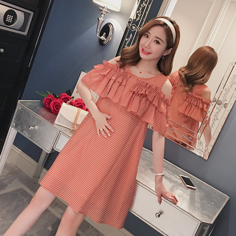 fab86d5b080 Maternity Wear 2018 Summer New Korean Fashion Strapless Short Sleeve Loose Large  Size Long Pregnant Dress-in Dresses from Women s Clothing on Aliexpress.com  ...