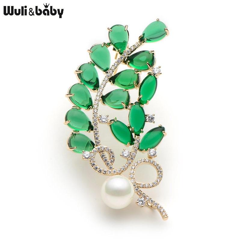 Crystal Green Semi-precious Stone Flower brossok nőknek szimulált Pearl Leaves brossok Esküvői bankett Broche