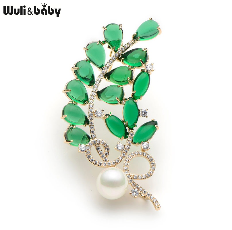 Crystal Green Semi-precious Stone Flower Brooches For Women Simulated Pearl Leaves Brooch Pins Wedding Banquet Broche