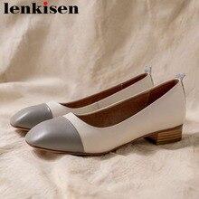 Zapatos de tacón bajo grueso Lenkisen 2019 de piel auténtica con colores mezclados retro vintage para embarazadas diseño sencillo vestido de oficina L4f1
