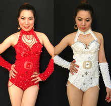 red white yellow female costume sexy bodysuit Hand sewing Pearl for star singer dancer nightclub bar fashion dj show performance