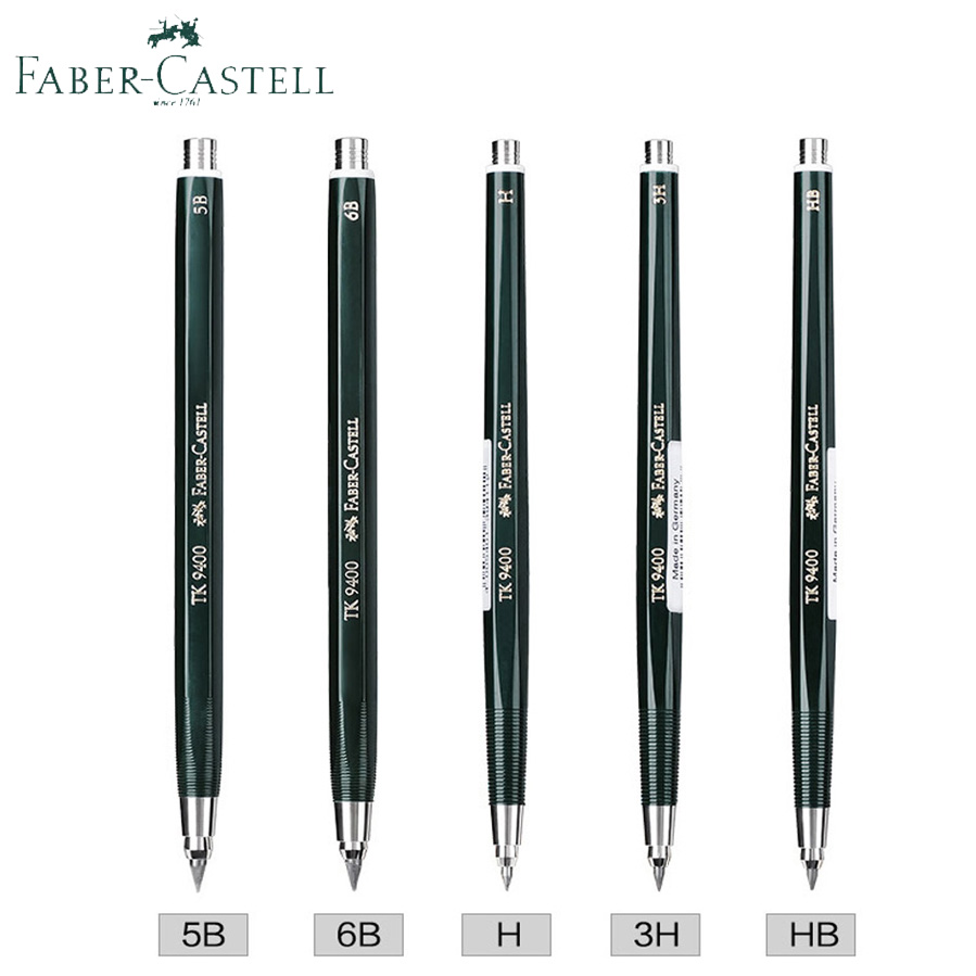 цена на Faber Castell Clutch Pencil TK 9400 2/3.15mm Drafting Mechanical/Automatic Pencils H/ 4B /5B For School&Office With Lead Refill