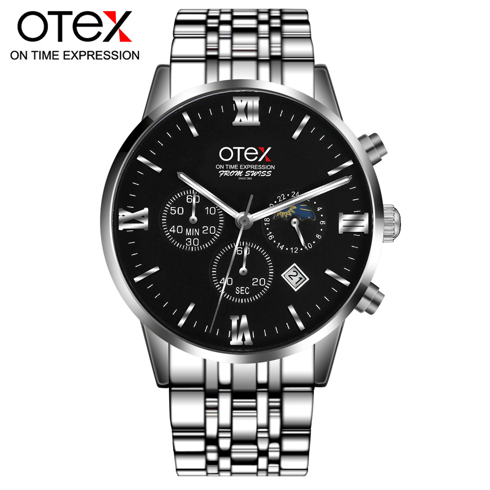 Brand otex Men Watches Luxury Stainless Steel Mesh Band Gold Watch Man Business Quartz Watch Male Wristwatch Relogio homme feitong luxury brand watches for women ladies watch full stainless steel gold mesh band wristwatch wristwatch relogio feminino