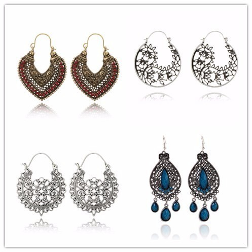 Hot Ethnic Vintage Jewelry Carving Hollow Gypsy Heart Earrings For Women Pendien