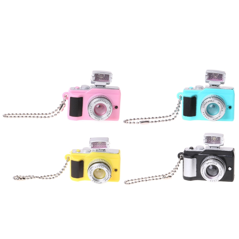 Creative Camera Led Keychains With Sound LED Flashlight Chain Funny Toy