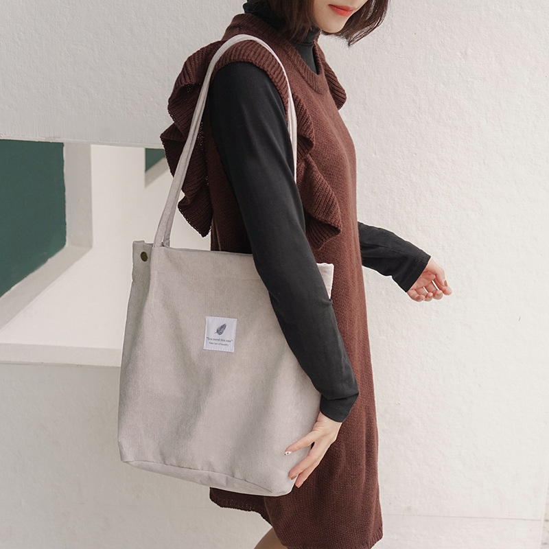 2019 Original Lady version corduroy four buckle canvas female bag large capacity literature hundred shoulder bag messenger bag in Shoulder Bags from Luggage Bags