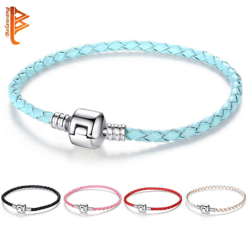 BELAWANG 100% Genuine Leather Bracelets for Women Men Silver Clasp Charm Bracelet & Bangle Christmas Gift Fashion Jewelry