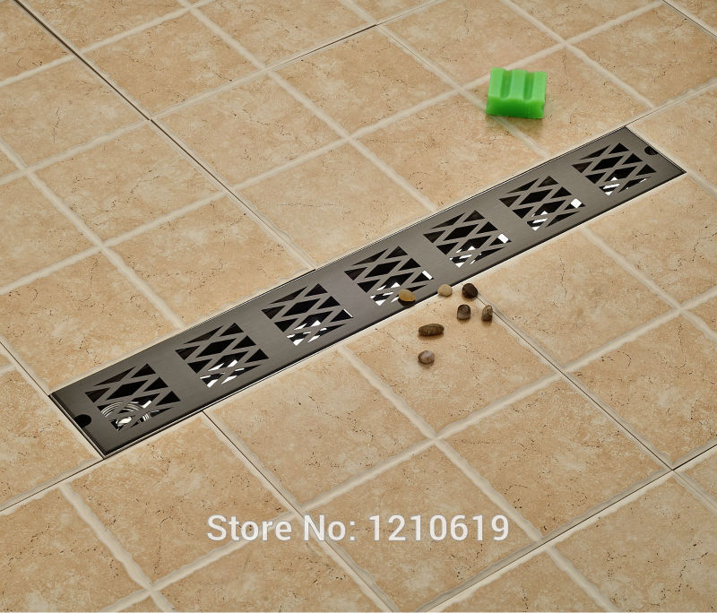 Newly Oil Rubbed Bronze Bathroom Balcony Floor Drain Shower Strainer Stainless Steel 70*10cm Floor Filler Black modern 90 10 cm oil rubbed bronze style deodorization grate waste floor drain floor mounted