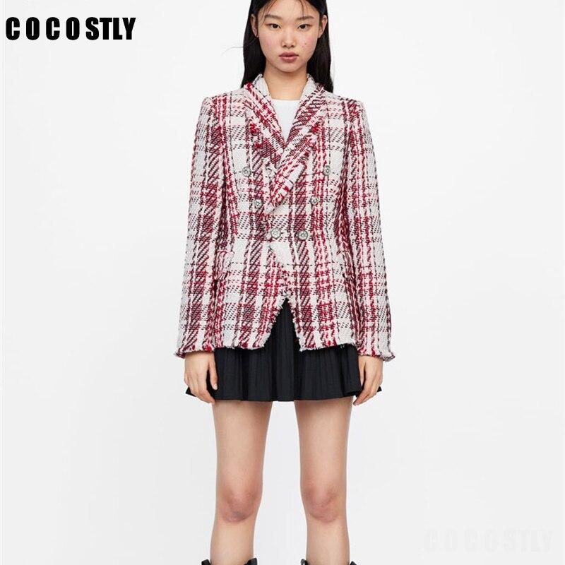 dca27b6d93e SHOWERSMILE женские блейзеры британский стиль женские s твидовая куртка ...