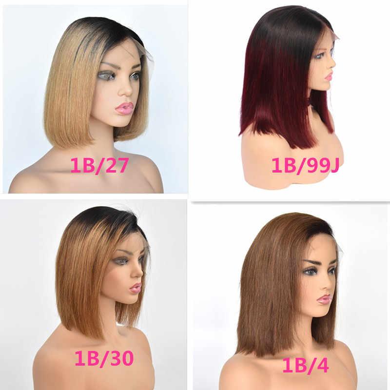 13x6 большой Синтетические волосы на кружеве человеческих волос парики прямо Ombre русый красный боб парики Glueless предварительно выщипать Волосы remy полный конец для женский, черный