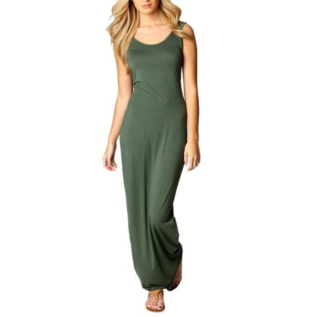 6a2bdca1792 Summer Women Cotton Stretch Long Sundress Maxi Long Beach Tank Dress Casual  YM
