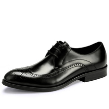 QYFCIOUFU Formal Brogue Shoes Men Genuine Leather Dress Shoes Retro Pointed Toe Oxford Male Footwear Lace-up Plus Size US 11.5